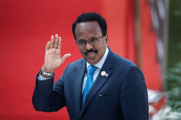 Somalia's President Mohamed Abdullahi Mohamed gestures while arriving at the Loftus Versfeld Stadium in Pretoria, South Africa, for the inauguration of Incumbent South African President Cyril Ramaphosa on May 25, 2019. PHOTO | MICHELE SPATARI | AFP
