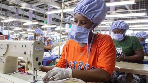 Factories in Ghana are mass producing face masks.GETTY IMAGES