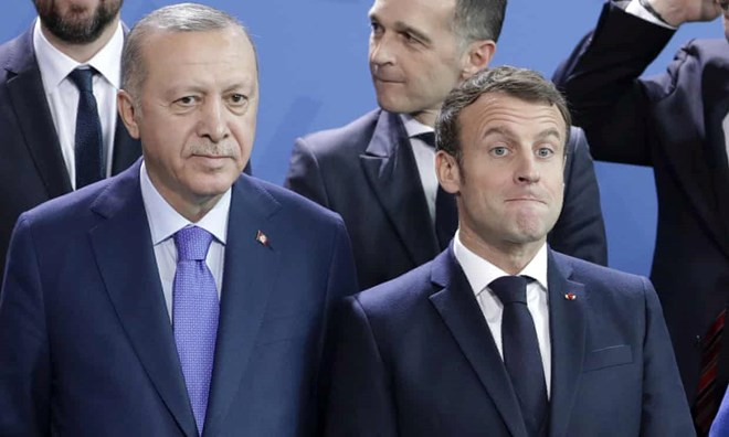 Turkey's president, Recep Tayyip Erdoğan, left and French president Emmanuel Macron in January this year. Photograph: Michael Sohn/AP