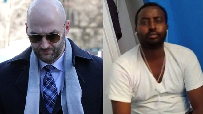Const. Daniel Montsion, left, was found not guilty in death of Abdirahman Abdi, right. (Robyn Miller/CBC, Family photo)