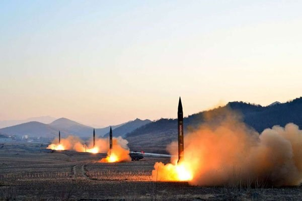 Launch of four ballistic missiles by the Korean People's Army during a military drill at an undisclosed location in North Korea on March 7, 2017. PHOTO | AFP