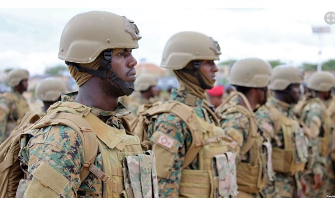FILE - Somali military officers attend a training program by the United Arab Emirates at their military base in Mogadishu, Somalia, Nov. 1, 2017.