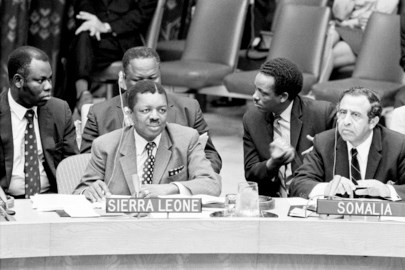 Seen listening to the debate are Mr. S.A.J. Pratt (left) Minister of External Affairs for Sierra Leone and Mr. Abdulrahim Abby Farah, Permanent Representative to the United Nations from Somalia.  06 October 1971. United Nations, New York. UN Photo/Teddy Chen