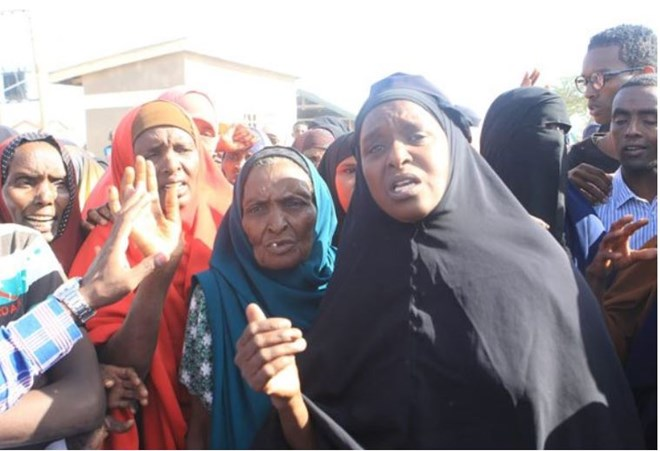 A  group of women at Elwak Hospital in Mandera react on September 13, 2018, after the killing of three family members said to have been picked by police.  PHOTO | MANASE OTSIALO | NATION