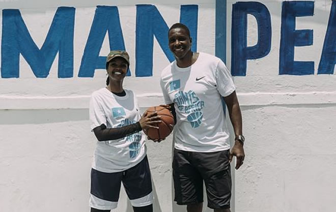 Toronto Raptors president Masai Ujiri and Ilwad Elman head of the operations at Elman Peace and Human Rights - Photo by Elman