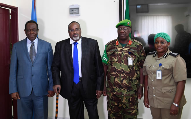 Mohamed Abdi Waare, the President of Hirshabelle State of Somalia, in a group photo with Ambassador Francisco Madeira, the Special Representative of the Chairperson of the African Union Commission (SRCC) for Somalia, Maj. Gen. Charles Tai Gituai, the AMISOM Deputy Force Commander in Charge of Operations and Plans, and Christine Alalo, the Acting AMISOM Police Commissioner, in Mogadishu on 2 February 2019. AMISOM Photo / Omar Abdisalan