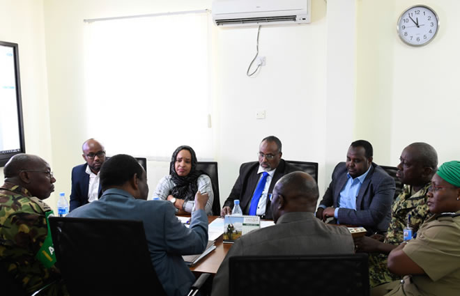 Ambassador Francisco Madeira, the Special Representative of the Chairperson of the African Union Commission (SRCC) for Somalia, Simon Mulongo, the Deputy SRCC, and other senior AMISOM officials in a meeting with Mohamed Abdi Waare, the President of Hirshabelle State of Somalia, and other officials in Mogadishu, on 2 February 2019. AMISOM Photo / Omar Abdisalan