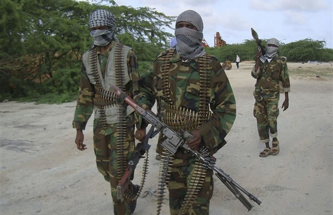 Al-Shabab fighters conduct a military exercise in northern Mogadishu, Somalia, on Aug. 23, 2010. Farah Abdi Warsameh / AP file