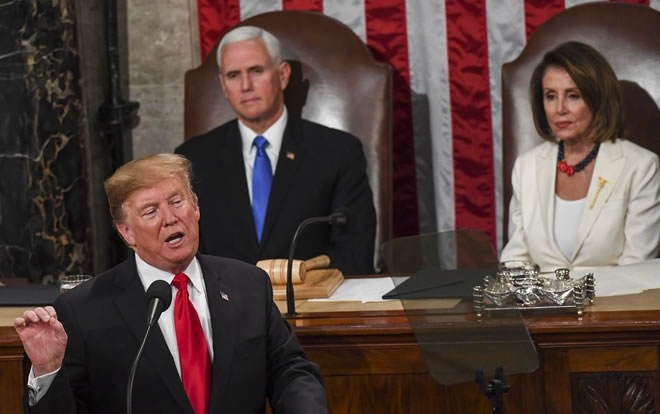 President Trump, in front of Vice President Pence and House Speaker Nancy Pelosi (D-Calif.), delivers his State of the Union address before members of Congress on Feb 5. (Toni L. Sandys/The Washington Post)